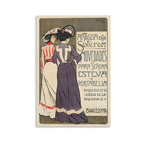 Póster de Antigua Casa Soteras Novedades de 1902 sobre lienzo para pared y arte de pared, diseño moderno, para sala de estar, dormitorio o baño, 40 x 60 cm