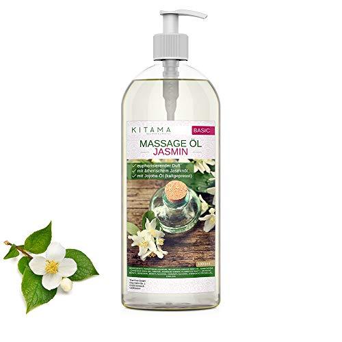 Kitama Aroma Massageöl Jasmin 1000ml (1-Liter) I Pflegendes Körperöl für Massagen I Aroma-Öl für Massage, Thai-Massage & Spa