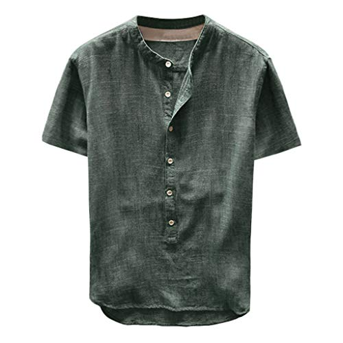 Yowablo Herren Shirt Kurzarm Top Bluse Fashion Summer Button Kurzarm aus Leinen und Baumwolle (XL,34Grün)