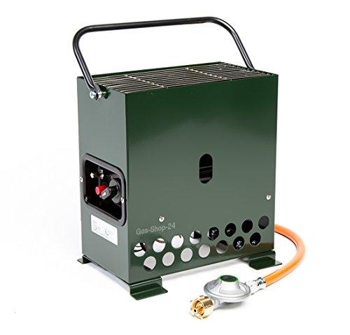 2,2 kW Gewächshausheizung grün/Frostwächter mit Gasschlauch + Druckminderer (Gasheizung, Heizung, Standheizung, Gewächshaus, Heatbox Campingheizung)