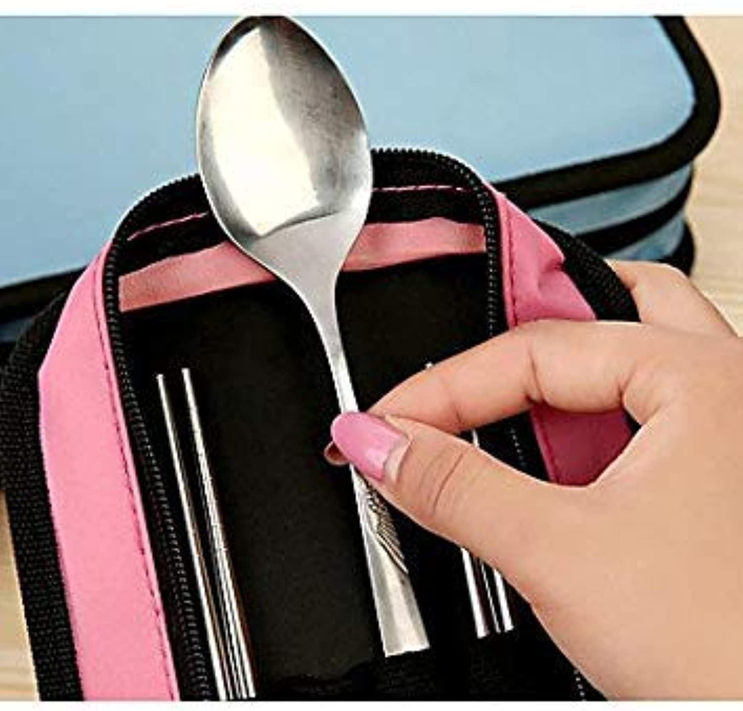 Square Stainless Steel Travel Cutlery Couple Chopsticks Spoon Suit Cutlery Sets Triple Bowl(color Pink)