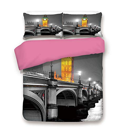London Duvet Cover 3PCS Set The Big Ben and The Westminster Bridge at Night in UK Street River European Look Decorative Microfiber 3 Piece Bedding Set Full,Decor for Guest Room Hotel Room Grey Yellow