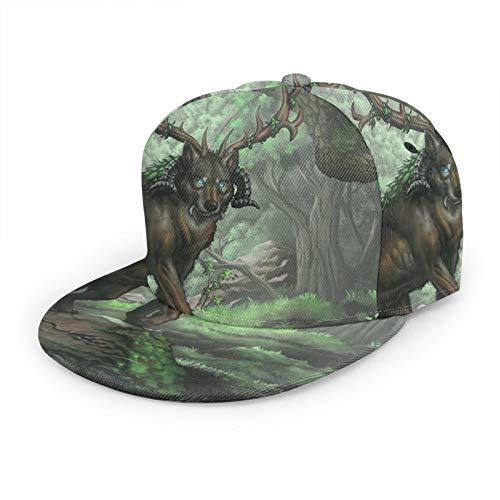 Gorra de béisbol plana 3D Horned Wolf Forest Tree Flat Brim Ajustable Snapback Caps Casual Dad Hat Trucker Sombreros para hombres y mujeres Negro