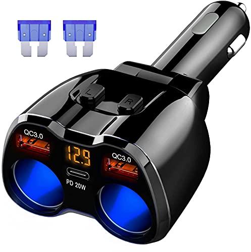 QC3.0 Cargador de Coche Divisor Encendedor de Cigarrillos 150W, 20W PD Tipo C USB C Toma Adaptador del Coche de La Energía Cargador USB Dual Carga Rápida para GPS, Dash CAM, SAT NAV