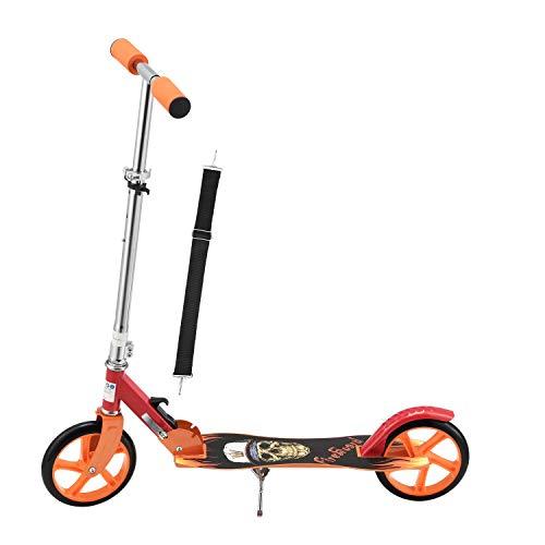 ArtSport Scooter Cityroller Fire Big Wheel 205 mm Räder klappbar höhenverstellbar – Kinder-Roller ab 3 Jahre - Tretroller bis 100kg – schwarz/rot