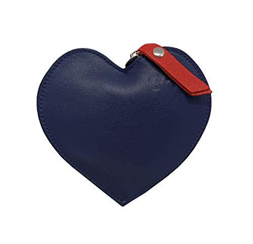 FIONCCI Monedero Mujer Piel Auténtica con Cremallera - Forma de Corazón y Bolsa de Regalo (Azul marino)