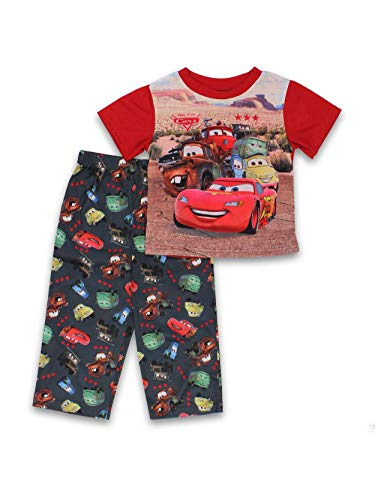 Disney Cars Toddler Boys 2 Piece Short Sleeve Pants Pajamas Set (4T, Red/Multi)