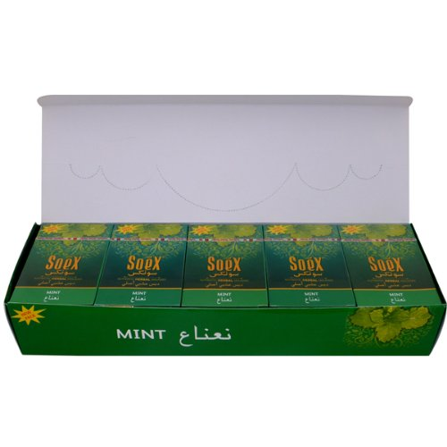 Mint Geschmack Soex Wasserpfeife Shisha Authentic Melasse Full Versiegelter Box 10Packungen x 50g–Gesamt 500gr
