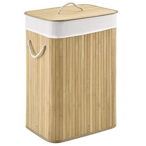 Juskys Bambus Wäschekorb Curly mit Deckel & Polyester Wäschesack | 72 Liter | 1 Fach | rechteckig | Natur | Wäschesammler Wäschetonne Wäschebox