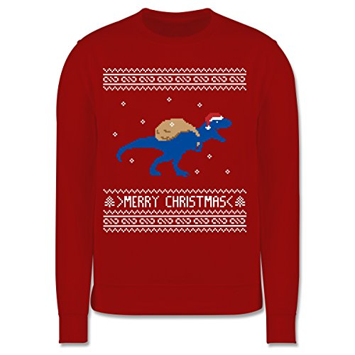 Shirtracer Weihnachten Kind - Ugly Christmas I T-Rex Merry Christmas - 116 (5/6 Jahre) - Rot - Christmas Pullover Kinder - JH030K - Kinder Pullover