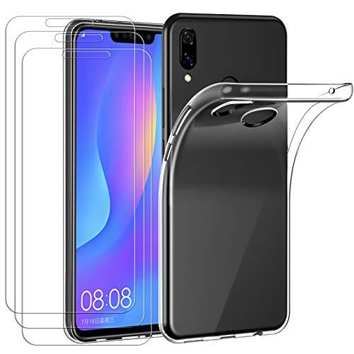 iVoler Custodia Cover per Huawei P Smart+ 2018 / Huawei P Smart Plus 2018 con 3 Pezzi Pellicola Vetro Temperato, Ultra Sottile Morbido TPU Trasparente Silicone Antiurto Protettiva Case
