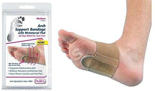 PEDIFIX Arch Support Compression Bandage with Metatarsal Pad P6002 Relieves Neuroma Bunion Heel Pain Plantar Fasciitis (Medium)