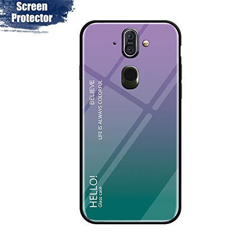 MadBee Cover per Nokia 8 Sirocco [con Pellicola Proteggi Schermo],Custodia Protettiva in Vetro Temperato 9H [Motivo in Marmo] + Cornice Paraurti in Silicone Morbido Cover Case (Porpora)