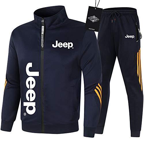 MAUXpIAO de Los Hombres Chandal Conjunto Trotar Traje jeep Hooded Zipper Chaqueta + Pantalones Sudadera Baloncesto Ropa Colocar/blue/M