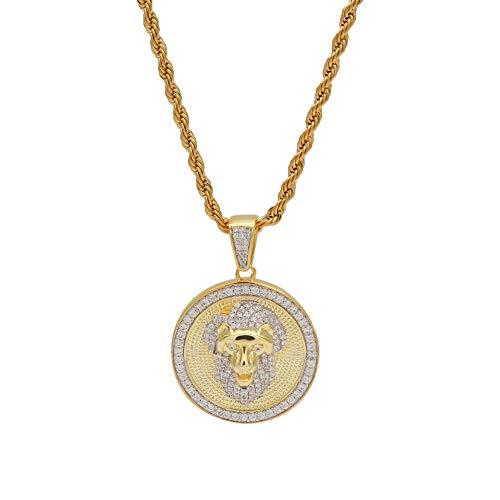 Rap Jewelry - Colgante de cabeza de león con microincrustaciones de circonita, diseño de cabeza de león, color dorado y plateado, 123, color, dorado