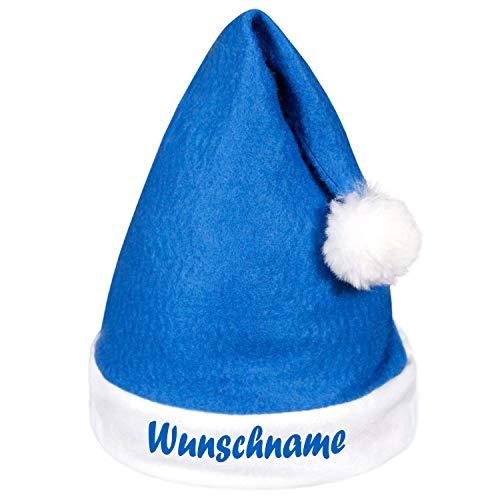 Shirt-Panda Weihnachtsmütze mit Wunschname Wunschtext · Bedruckt Wunschdruck Kopfumfang ca. 60cm Nikolaus Mütze Xmas Nikolausmütze Weihnachten Geschenk (Blau/Weiß)