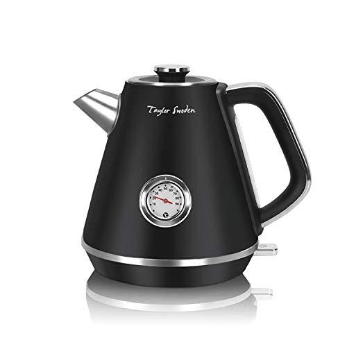 Taylor Swoden Aladin - 1,7 L Retro-Wasserkocher, 2200 W kabelloser Edelstahl, Temperaturanzeigekessel, automatische Abschaltung für Wasser, Tee
