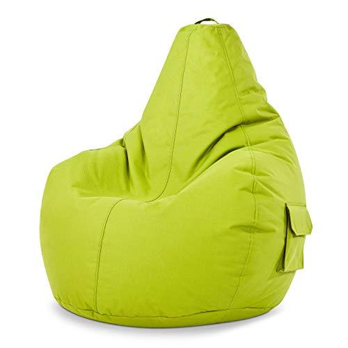 Green Bean © Cozy Gaming Beanbag, Poltrona a sacco, sedia da gioco 80x70x90 cm, 230 litri di riempimento con perline in EPS, puff per interno e esterno, Gamer pouf per bambini e adulti, Verde chiaro