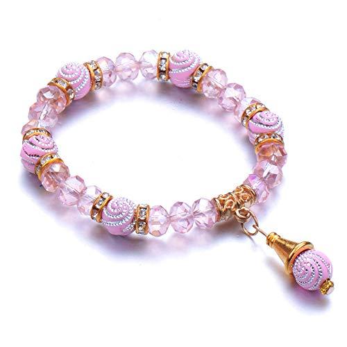 Jewellery Bracelets Bangle For Womens Fashion Classic Bracelet Female Bracelet Round Beaded Handmade Pendant Charm Bracelet Fashion Jewelry-Pink
