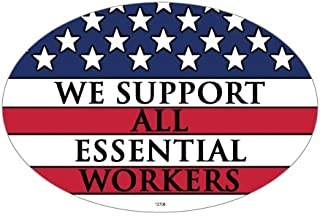 SJT ENTERPRISES, INC. We Support All Essential Workers - American Flag Support Oval Car Magnets (SJT12706)