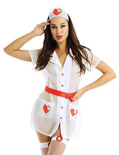 inlzdz Damen Krankenschwester-Uniform-Outfits Sexy Erwachsenenkostüme Dessous-Set Nachtwäsche Gr. L, weiß