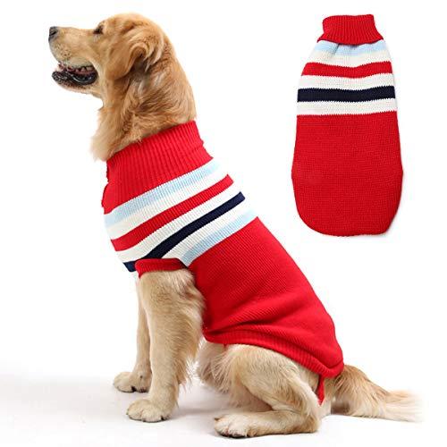 Maglione per Cani a Righe, Caldo e Morbido Cappotto in Maglia di Lana Abbigliamento Invernale per Cani di Taglia Piccola, Media e Grande