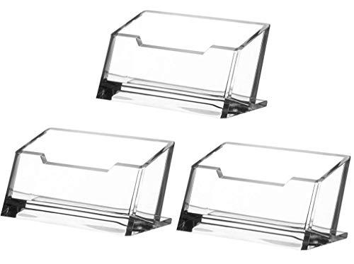 Rmeet Soportes para Tarjetas de Vista,3 Pack Transparente Organizador de Tarjetas de Plástico Acrílico Tarjeta de Visita Soporte Portatarjetas Organizador de colección de Oficina 103 * 43MM