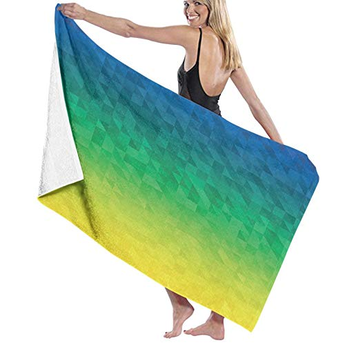 Grande Suave Toalla de Baño Manta,Inspirado en OmbreForma de Mosaico Fractal Abstracto en Colores de la Bandera de Brasil,Hoja de Baño Toalla de Playa por la Familia Viaje Nadando Deportes,52' x 32'