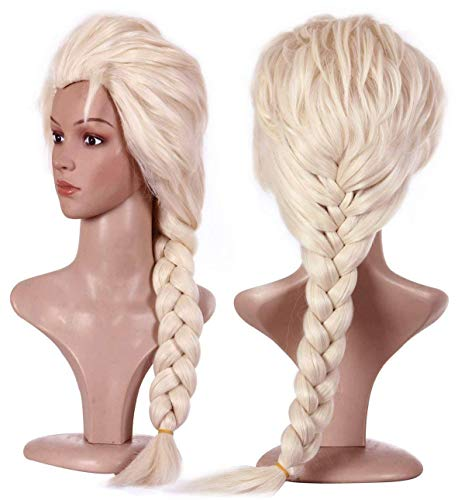 Perücke Blond Kostüm Cosplay für Elsa Mädchen/Damen Anime Prinzessin Zöpfe Geflochtene Perücken für Karneval Fasching VD020