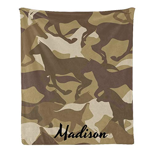Qearl Camouflage Horse Silhouette Personalized Throw Blanket with Name,Custom Blanket for Women,Men,Kids,Boys,Girls,Blanket Throws for Bed,Couch,Gifts 50x60 Inches