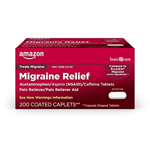 ACTIVE INGREDIENTS in Amazon Basic Care Migraine Formula Caplets are acetaminophen 250 mg, aspirin 250 mg (NSAID), and caffeine 65 mg. Compare to the active ingredients in Excedrin Migraine. MIGRAINE PAIN: The pain of migraine headaches can disrupt y...