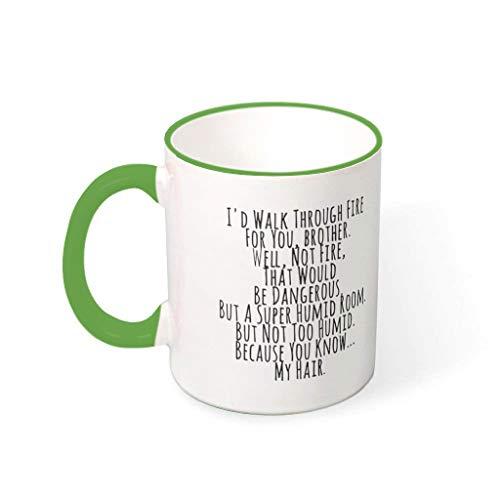 Lind88 Walk Through Fire Water Cocoa tazas con asa tazas retro de cerámica – regalo para hombre, apto para uso en restaurante (311 oz), cerámica, Verde irlandés., 330ml