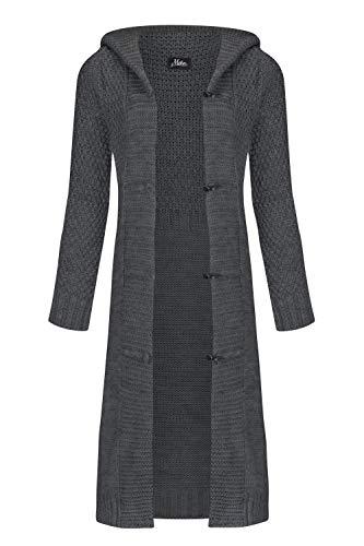Mikos* Damen Cardigan Wolle Strickjacke mit Kapuze Long Lang Pulli Pullover Herbs Winter Beige Grau Schwarz S M L XL 36 38 40 42 (988) (Graphit, L)
