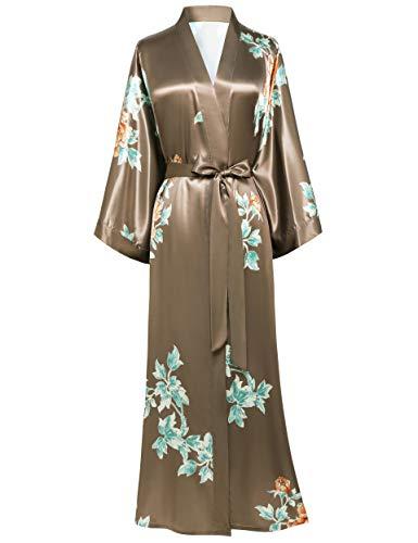 BABEYOND Damen Morgenmantel Maxi Lang Seide Satin Sommer Kimono Kleid Klassisch Blumen Muster Kimono Bademantel Damen Lange Robe Blumen Schlafmantel Girl Pajama Party (1-Kaffee)