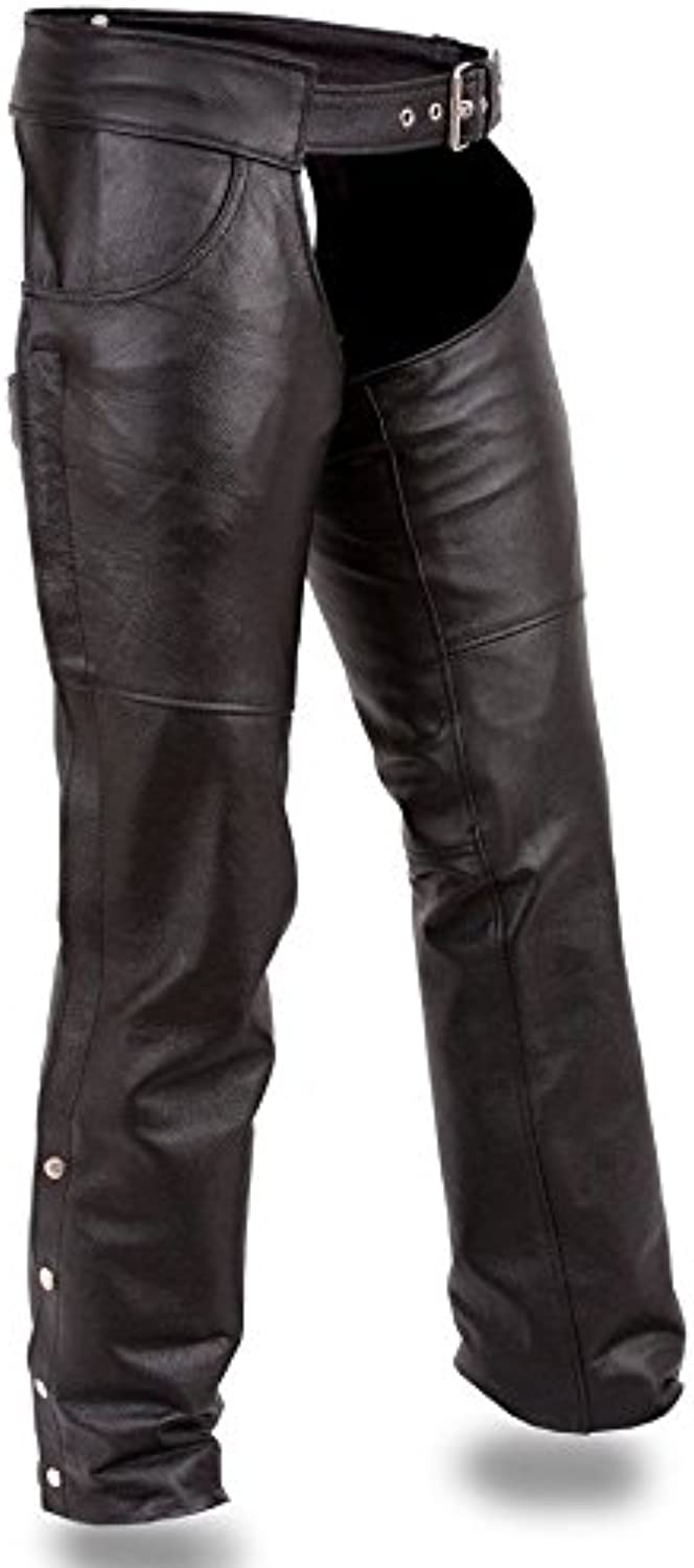First Manufacturing Mens Motorcycle Riding Biker Classic Jean Pocket chap Pant Cow Hide Soft Leather (XS Regular)
