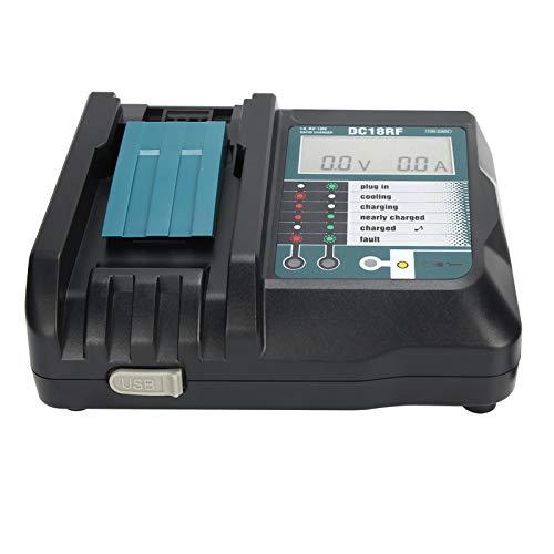 XINL Cargador de batería, Enchufe de UE 100-240V Cargador de batería de Litio de plástico con Pantalla para baterías de Litio 14V / 18V