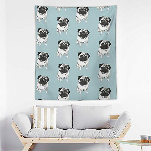 SWEET TANG Tapestry French Bulldog Mint Green Wall Hanging Tapestries Hippie Art Tapestry Large Blanket Bedspread Tapestry Home Decor for Bedroom Living Room Dorm, 50' x 60'