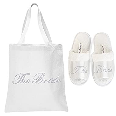 White The Bride Crystal Open Toe Spa Slippers and Tote bags wedding bride gift hen party