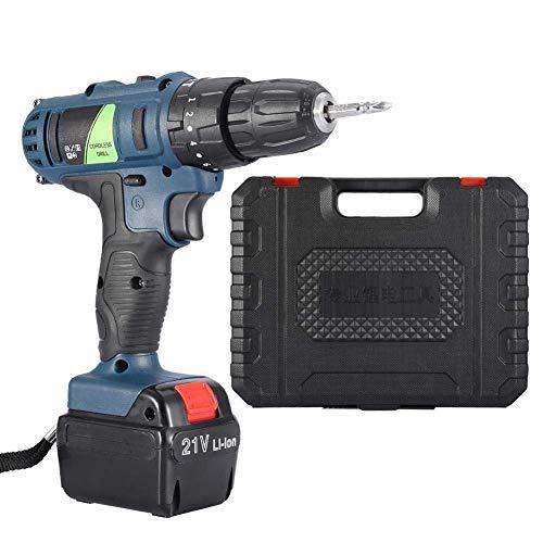 Yongenee Taladro eléctrico Recargable sin Cuerda Handheld Profesional Herramienta eléctrica 21V Destornillador (Enchufe UK) Herramientas