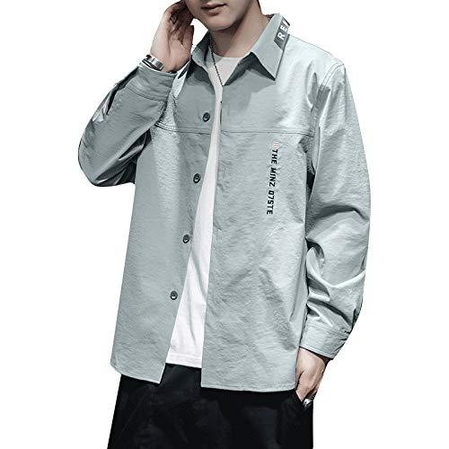Camisa de Solapa para Hombre Otoño Impresión de Bordado Simple Tendencia de la Calle Camisa de Herramientas de Todo fósforo Elegante Informal Camisa de Manga Larga XL