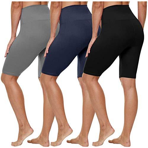 HWTOP Damen Kurze Leggings Hohe Taille Shorts Blickdicht Radlerhose Hotpants Kurze Hose Bauchkontrolle Unterhose Atmungsaktive Boxershorts 3er Pack
