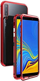 Samsung Galaxy A50 Magnetic Case, Magnetic Adsorption Technology Metal Frame Case Aluminum 9H Tempered Glass Back Cover - Red