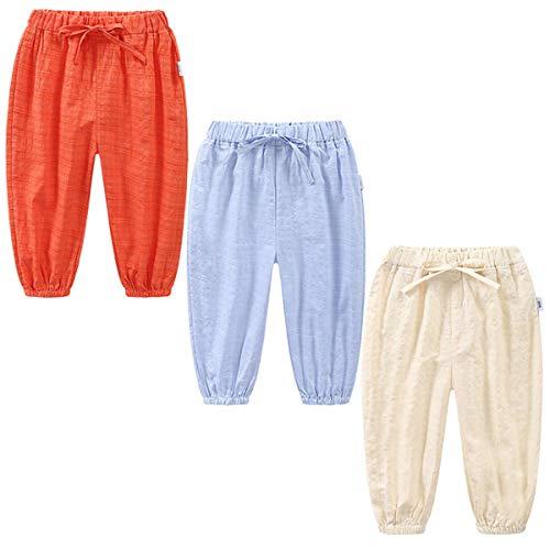 3 Pack of Kinder Mädchen Jungen Sommer Baumwoll Drucken Leinenhose Pumphose Elastische Lässige Anti-Moskito Jogginghose Lässige Pants Hose (Pant#10, Tag 120 (3-4 Jahre))