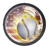 引き出しノブプルハンドル4個 クリスタルガラスのキャビネットの引き出しは食器棚のノブを引っ張る,旗の野球ボール