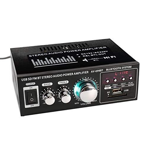 Docooler Mini Amplificateur HiFi Audio Stéréo, Stéréo BT FM Radio Portable, Avec écran LCD 2CH, Home 200W+200W(12V/ 220V)