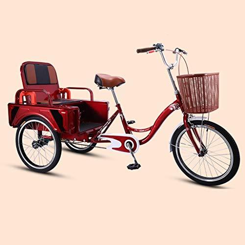2 In 1 Tricycle, 3 Rad Fahrrad Mit Klappsitz Und Hohen Kapazität Korb, Passagier- Und Fracht Lastenfahrrad Tricycle Trike, for Senioren, Frauen, Männer Cruiser Bike, 20inch (Color : Red)