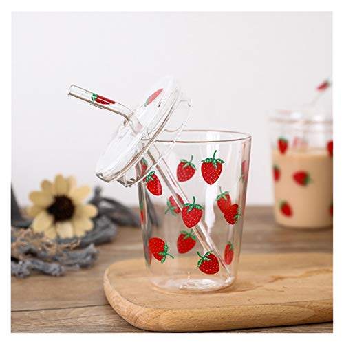 JYDZSW Taza de Agua 600ml Taza de Cristal de Fresa Linda Fresa Botella de Agua con Jugo de Paja Taza de té de Leche Taza Copa Creativa para niños Adulto (Color : C 350ML)