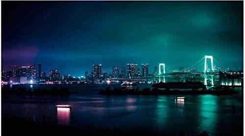 NOBRAND Puzzle De 1000 Piezas Rompecabezas Minato Japón Ciudad De Noche Puente Arte Bricolaje para Adultos Mayores Adultos