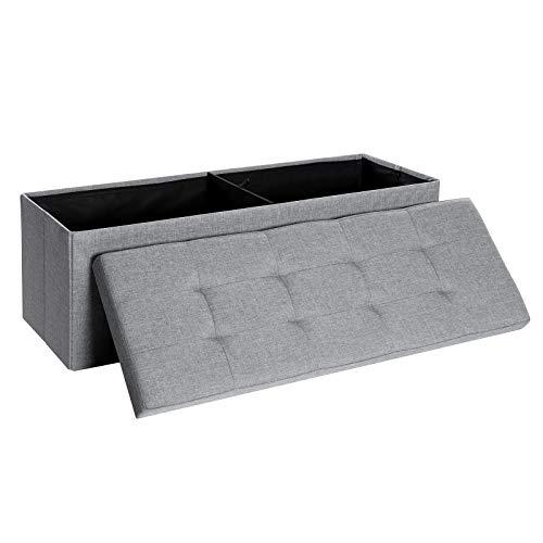 SONGMICS Sitzbank mit Stauraum, Sitztruhe, Aufbewahrungsbox, faltbar, max. statische Belastbarkeit 300 kg, mit Trenngitter aus Metall, 120 L, 110 x 38 x 38 cm, Leinenimitat, hellgrau LSF77G