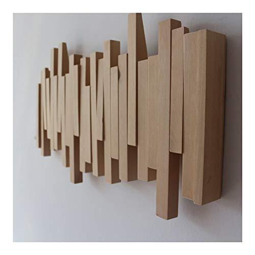 Wood Kapstok Hanger Met Flip-Down Hooks Rustiek Wand Sticks Multi Rack Meubelen Entryway Organizer For Opknoping Coats Portemonnee Portemonnee (Size : 30cmx18cm 3Hooks)
